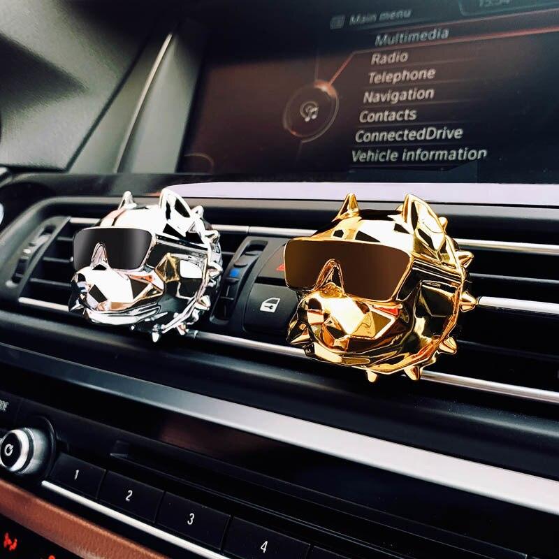 Car Diffuser Creative Bulldog Air Freshener Car Perfume Car Decoration Auto Vents Scent Odor Clip Car Interior Accessories