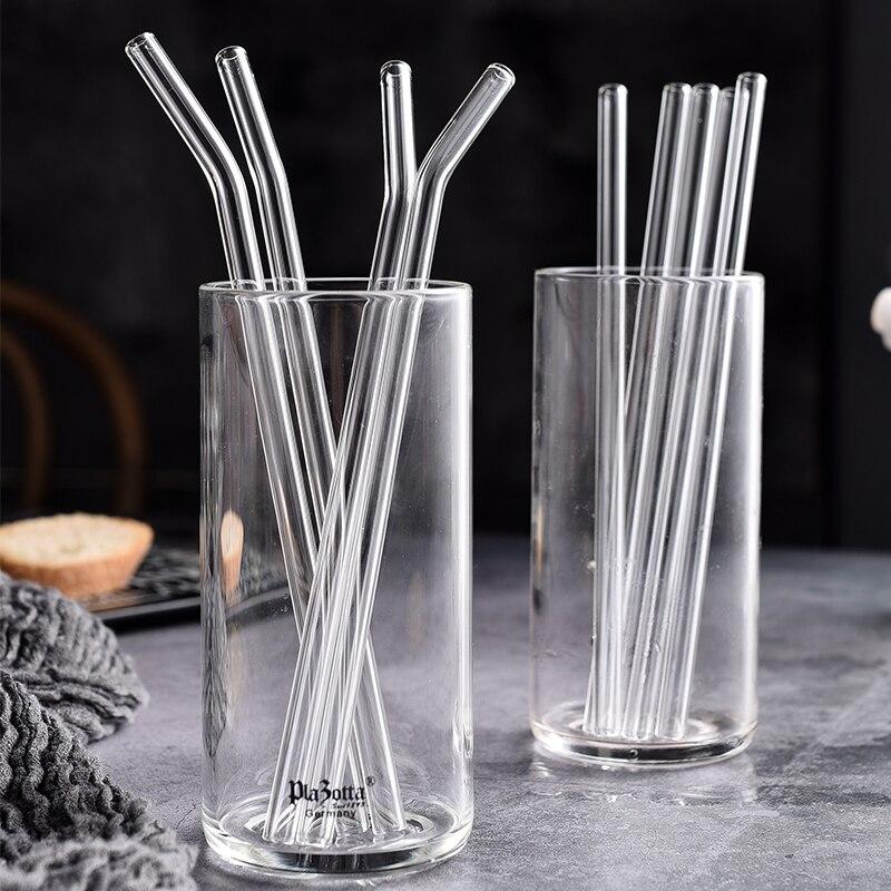 Pailles en verre transparent, 200x8mm, pour boire des Smoothies, écologiques et réutilisables, avec brosse de nettoyage
