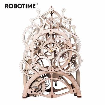 Robotime 4 Kinds DIY Laser Cutting 3D Mechanical Model Wooden Model Building Kits Assembly Toy Gift for Children