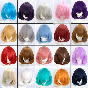 synthetic short straight pink bob wig cosplay wigs for women with bangs red blue purple MUMUPI sayosamonji inclined bang fluffy natural straight gorgeous blue short cosplay wig with bunches