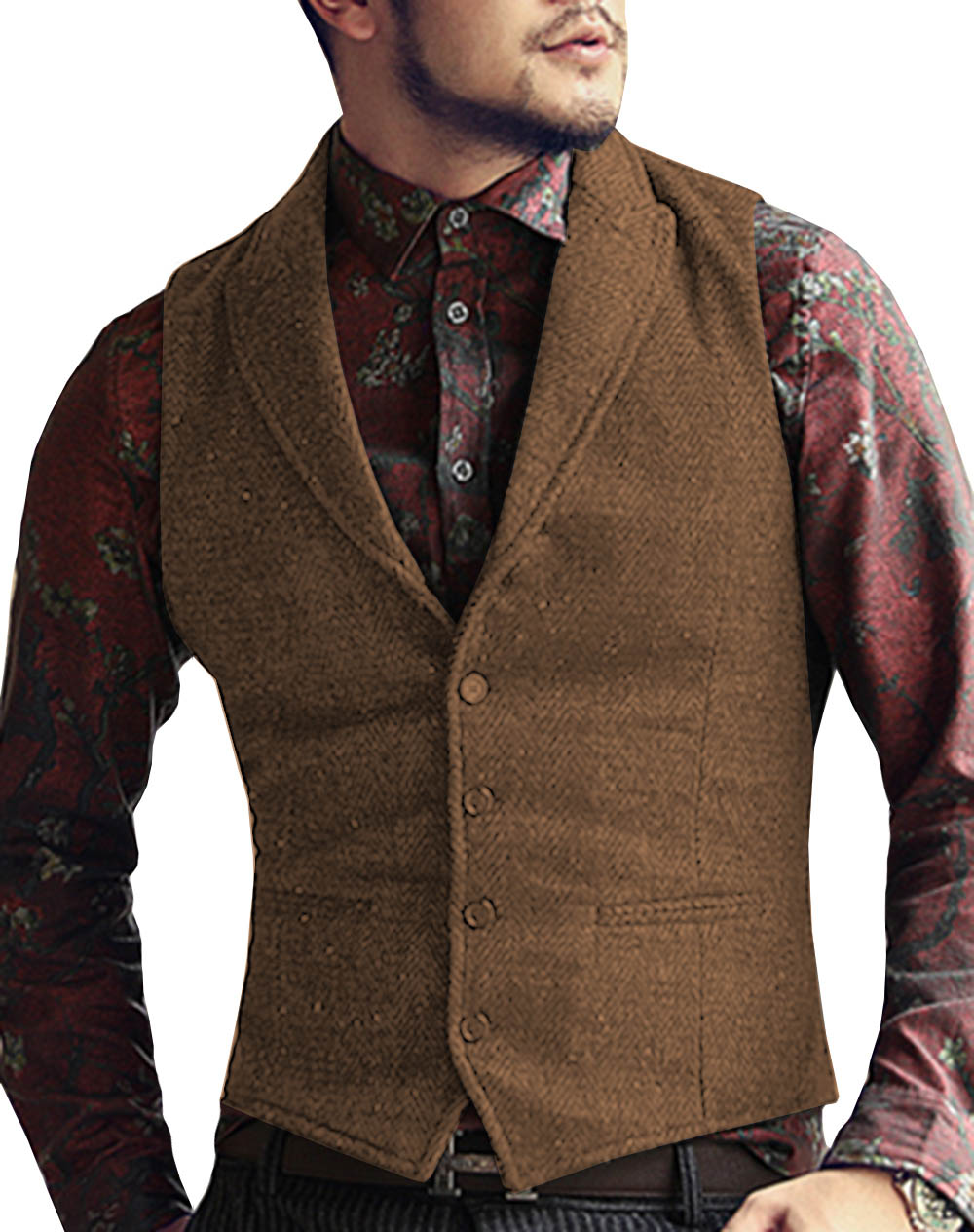 Mens-Suit-Vest-Lapel-V-Neck-Wool-Herringbone-Casual-Formal-Business-Vest-Waistcoat-Groomman-For-Wedding (5)