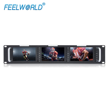"""FEELWORLD T51 Triple 5"""" 2RU 800X480 Broadcast LCD Rack Mount Monitor with 3G SDI, HDMI, AV input and output"""