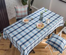 Plaid Linen Pink Wedding Tablecloth Blue Birthday Party Table Cover Rectangle Desk Cloth Wipe Covers Waterproof Table Cloth