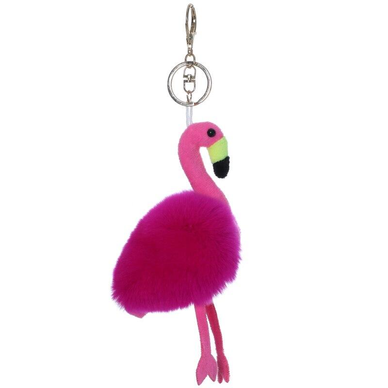 Rex rabbit fur Flamingo fur doll pendant Korean style bag pendant  cute car ornament furry key chain