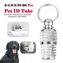 20PCS Pet Dog Cat ID Tube Address Label Barrel Storage id Silver Identification Card Id tags D40