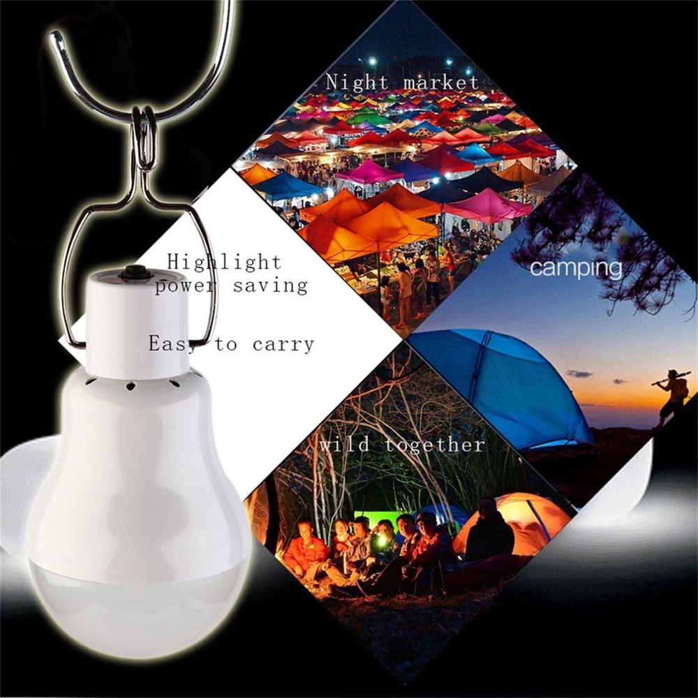 15W 130LM Portable Solar Power LED Bulb Solar Powered Light Charged Solar Energy Lamp Outdoor Lighting Camp Tent Fishing Light