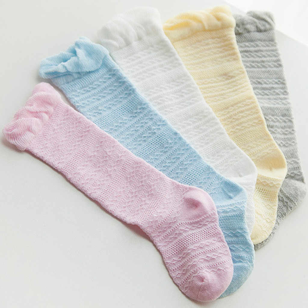 Newborn Stockings Sweet Baby Boys Girls Solid Lace Knee High Antislip Princess Stockings Cotton High Quality Stocking 2019