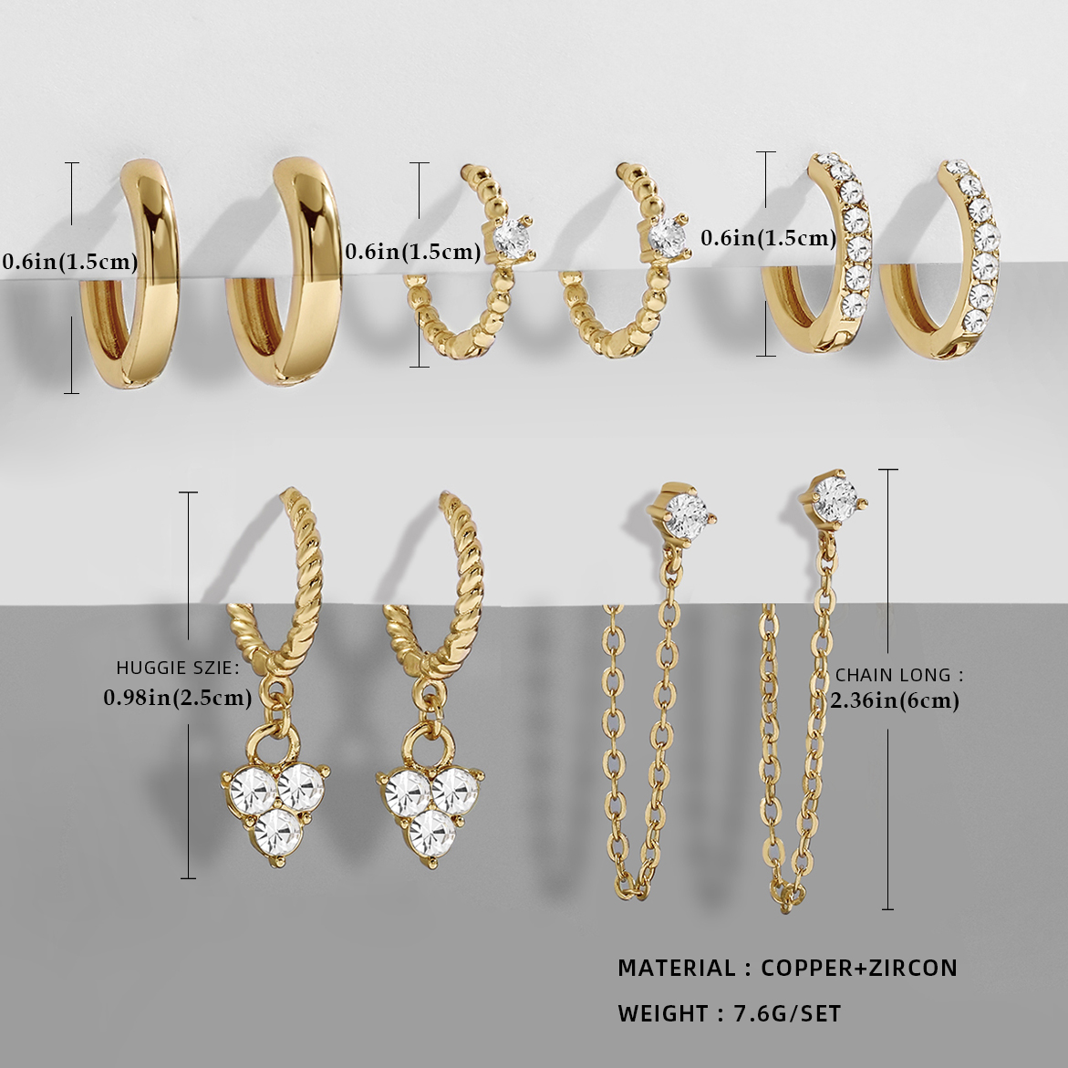 New Design CZ Zircon Crystal Small Hoops Sets Long Gold Chain Earrings for Women Twist Beads Huggie Fashion Jewelry Brincos 2021