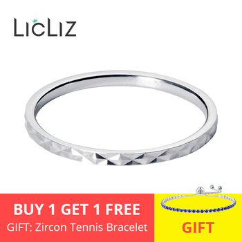 LicLiz 2020 New 925 Sterling Silver Simple Round Wave Geometric Rings for Women White Rose Gold Jewelry Anillos Bague LR0699