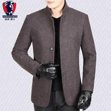 Loose Coat Male Middle Age Wool Wool Jacket Male Leisure Tim