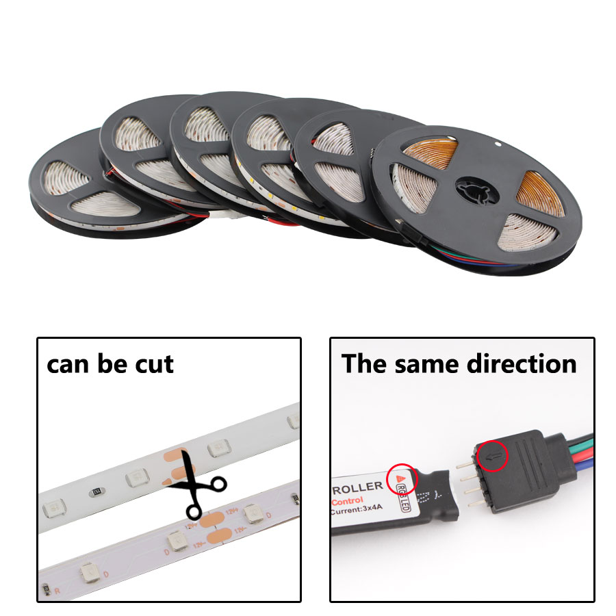 12 V Led Strip Light SMD 2835 RGB Waterproof 5M 60LED/M RGB 12V Led Strip Lights 12 V Volt Tape Lamp Diode Ribbon TV Backlight