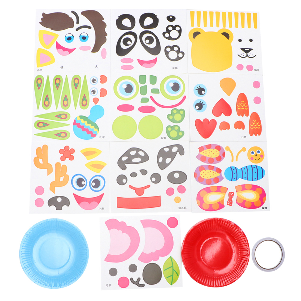 Children Creative Paper Tray Painting DIY Material Stickers Tray DIY Hand Painting Toys For Children Gift (Style A)