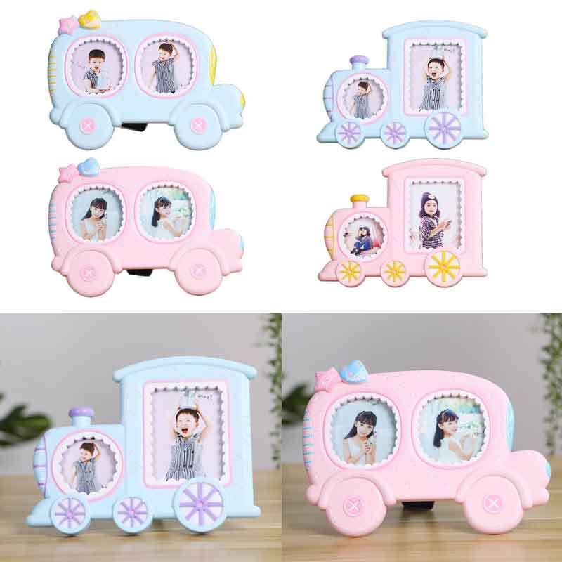 Creative Baby Cartoon Car Train Shape Photo Frame Infant Year Old Growth Picture Holder Birthday Gifts Desktop Ornaments