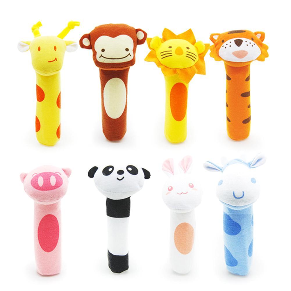 Cartoon Panda Animal Baby Hand Grip BB Stick Rattle Squeaker Education Toy Gift For Children Baby Rattles Play Birthday Gifts Ne