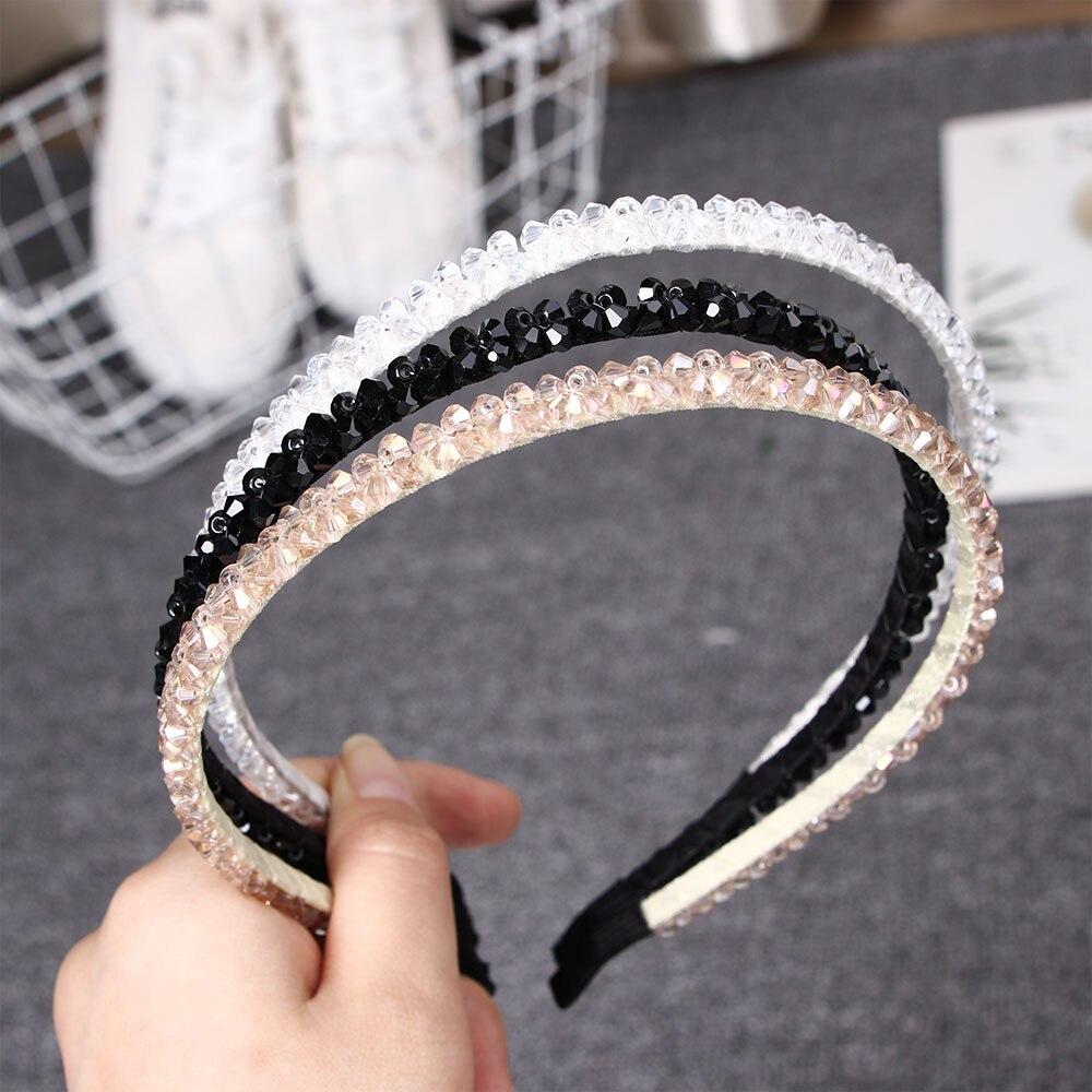 Women Crystal Metal Hairband Bling Headband Hairwear Accessories Bead Rhinestone Crystal Hair Band Wedding Jewelry