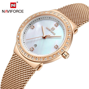 NAVIFORCE Casual Sport Watch for Women Fashion Ladies Waches Top Brand Luxury Wrist Watch Quartz Steel Strap relogio feminino image