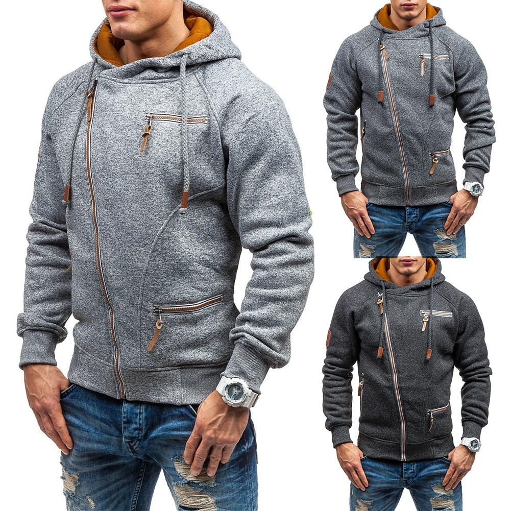 Men Casual Autumn Winter Solid Color Diagonal Zipper Drawstring Hood Loose Coat Warm Outdoor Windproof Streetwear Xmas Gift