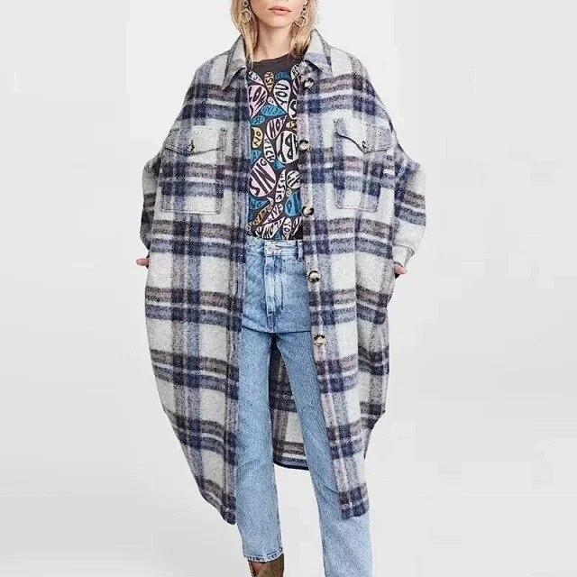 Antarctic Isabel Grid Coat Long Jacket Wool Plaid Cardigan Woolen Coat Female With Tag Label ETOILE19