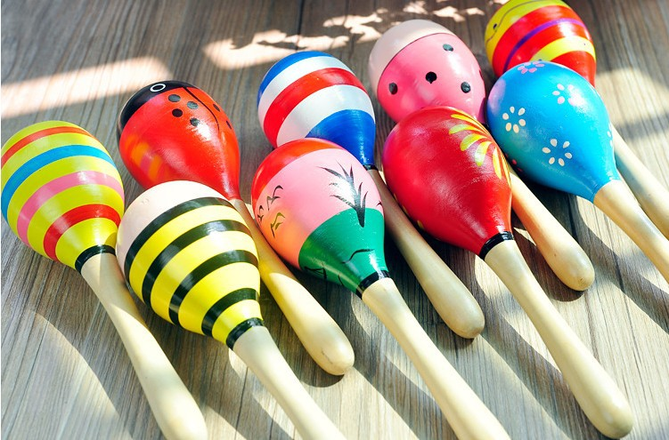 Large Size Sand Hammer Practice Grip Cartoon Wooden Maracas Rattle Infant Hearing Training Orff Early Education Toy