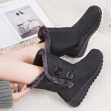 Snow Boots for women Buckle Strap Warm Plush Ladies boots Waterproof Rubber Mid-calf boots women winter 2019 eyelet buckle strap mid calf boots