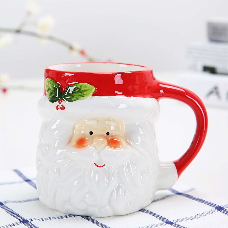 Quality Ceramic Christmas Coffee Mug Creative Office Couple Lovers Cup Lovely 3D Cartoon Santa Claus Breakfast Milk Cups Hot in Mugs from Home Garden
