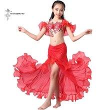 Dziewczyny brzuch kostium taneczny najnowszy 2 sztuk/zestaw biustonosz + spódnica odzież Bellydance dzieci orientalny spektakl taneczny taniec dla dziecka