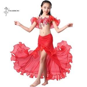 Image 1 - Dziewczyny brzuch kostium taneczny najnowszy 2 sztuk/zestaw biustonosz + spódnica odzież Bellydance dzieci orientalny spektakl taneczny taniec dla dziecka