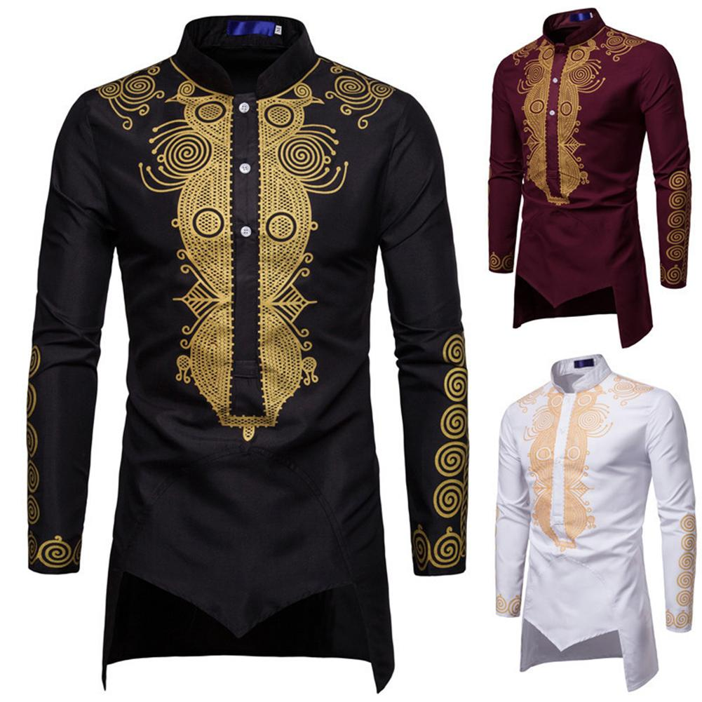 Men Floral Print Shirt Long Sleeve Stand Collar Men Shirt Irregular Prince Black White Red Shirt Party Costume Camisas Hombre
