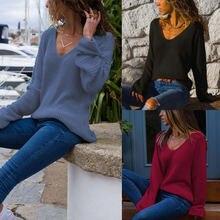 Женский тонкий вязаный свитер с v образным вырезом Свободный