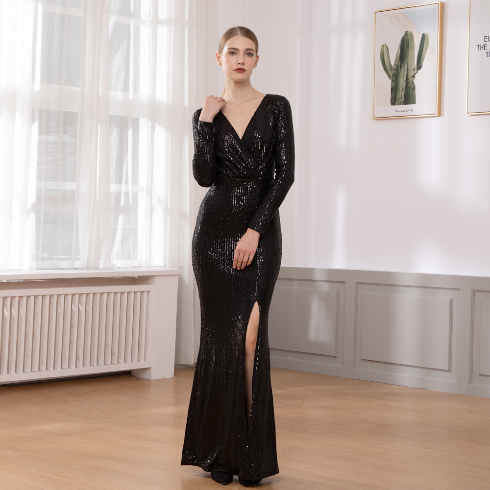 Elegant Black Sequined Night Party Dress Gown Wrap Dress V Neck Cut-out Maxi Dress Elastic Wrapped Dress