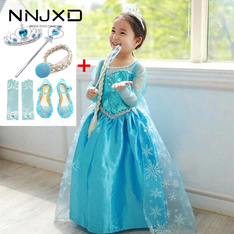 Fancy 4 10y Baby Girl Princess Elsa Dress for Girls Clothing Wear Cosplay Elza Costume Halloween Christmas Party With Crown