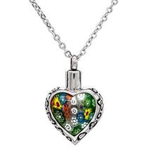 Colorful Flower Crystal Pendant Commemorating Loved Ones Stainless Steel Urn Box Pendant Memorial Pet Ash Pot Container Pendants kathy ireland loved ones tonal