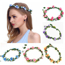 Women Wedding Flower Crown Girls Wreath Bohemian Vine Adjustable Yarn Garland Sweet Hair Bands Accessories For Bride Bridesmaid(China)
