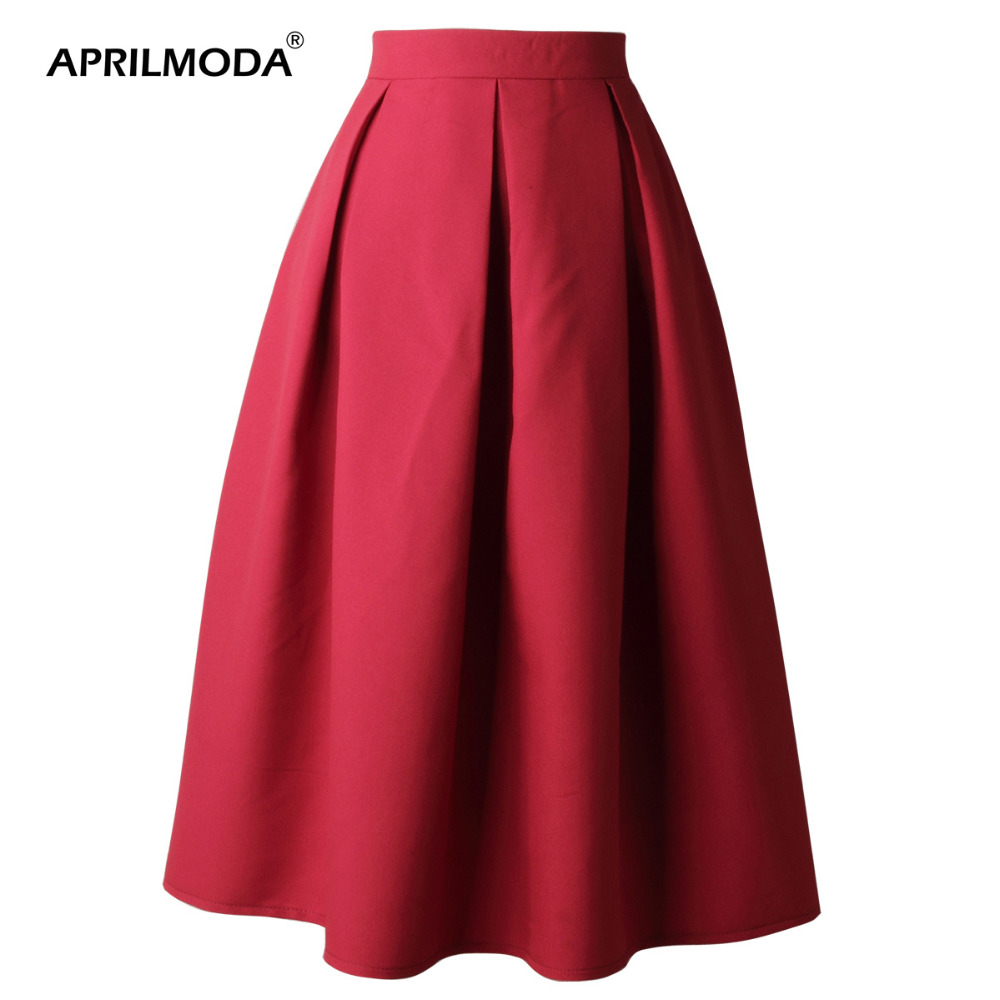 Для женщин юбки Высокая талия 50s Винтаж Повседневная юбка размера плюс 3XL спецодежды Офисные женские туфли для свинга одноцветное бальное