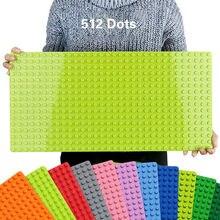 512 duploe placa de base de tijolos, 16*32 pontos 51*25.5cm, placa de base, blocos de construção diy, brinquedos para crianças compatível duplos green