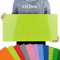 512 duplie grandes tijolos placa base 16*32 pontos 51*25.5cm baseplate diy blocos de construção brinquedos para crianças compatível duplos verde