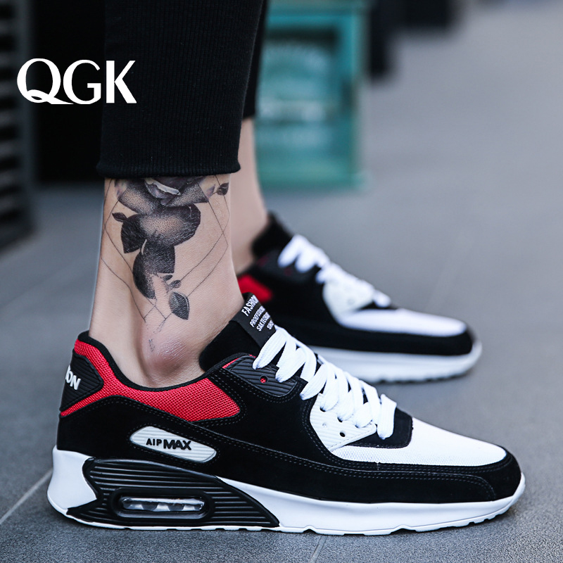 QGK Men Casual Shoes Running Air Shoes Men Cushion Comfortable Breathable Lace-Up Outdoor Stability Jogging Sneaker Size 39-45