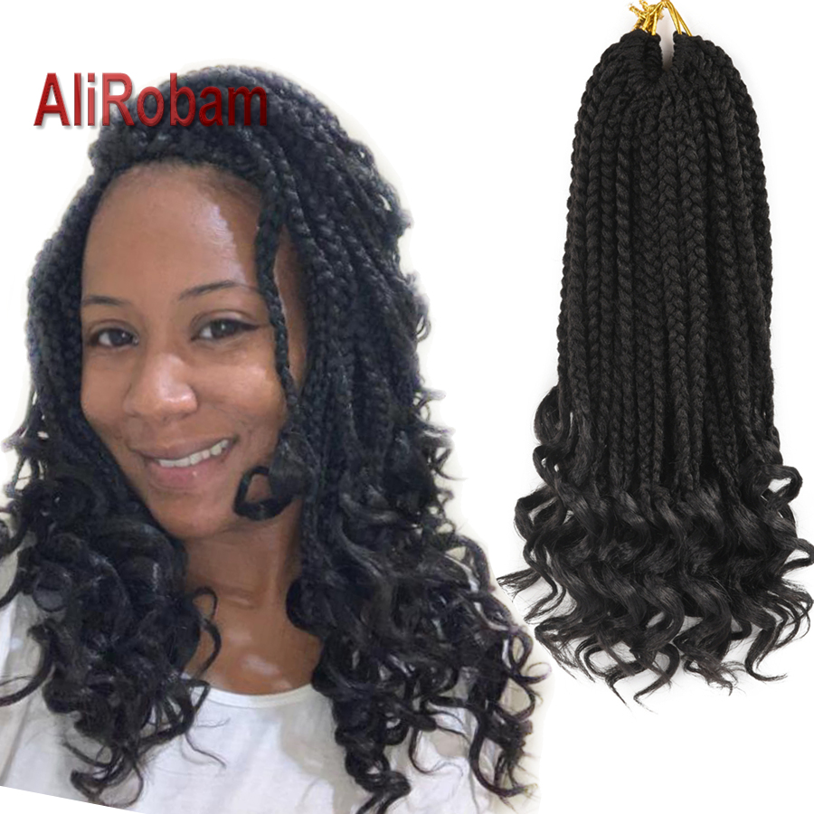AliRobam Loose Curly End Box Braids Ombre Black Brown  Burgundy Synthetic Braid Crochet Braiding Hair Extensions 22strands/pack