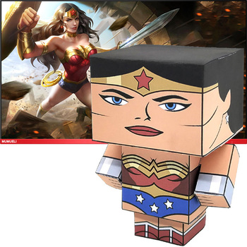 No-glue DC Comics Wonder Woman Folding Cute 3D Paper Model Papercraft Anime Figure DIY Cubee for Kids Adult Craft Toys CS-011 image