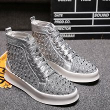 MEXEMINA Designer Mode Heren Schoenen Merk Laarzen Hoge Top Spikes Klinknagels Bodem Enkel Lace-up Casual Schoenen Zapatillas Hombre(China)