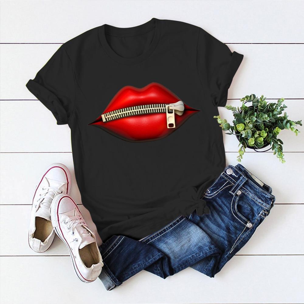 Модная женская Повседневная футболка с блестками и красными губами, футболки с коротким рукавом 2020, винтажная креативная футболка на молнии с губами, Прямая поставка|Футболки|   | АлиЭкспресс - Лучшая одежда для женщин с Али