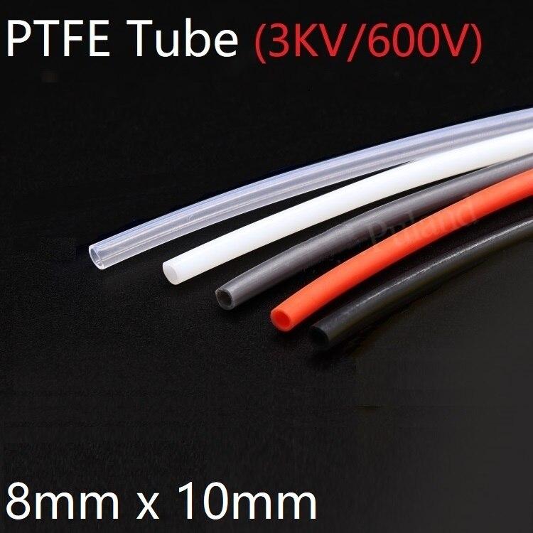 O calor capilar isolado da identificação 8mm x 10mm od f46 do tubo de ptfe protege a resistência de corrosão rígida 600v da temperatura da tubulação de hosing da transmissão