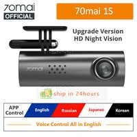 Xiaomi 70mai gravador de carro dvr 1 s app inglês controle voz hd1080p visão noturna traço cam wifi 70mai 1 s câmera do carro dvr espelho