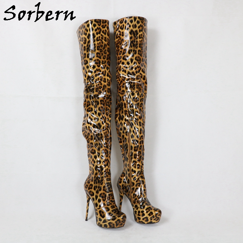 Sorbern Leopard Women Boots Crotch Thigh High Platform Boot Women High Heels Custom Slim Fit Plus Size Up To 34-49 Custom Colors