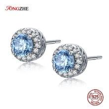 TONGZHE אמא מכירה 925 סטרלינג כסף Stud עגיל ים כחול CZ ברור קריסטל עגילים לנשים תכשיטים KLTE001 1