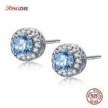 TONGZHE Mother SALE 925 Sterling Silver Stud Earring Sea Blue CZ Clear Crystal Earrings For Women Fine Jewelry KLTE001 1
