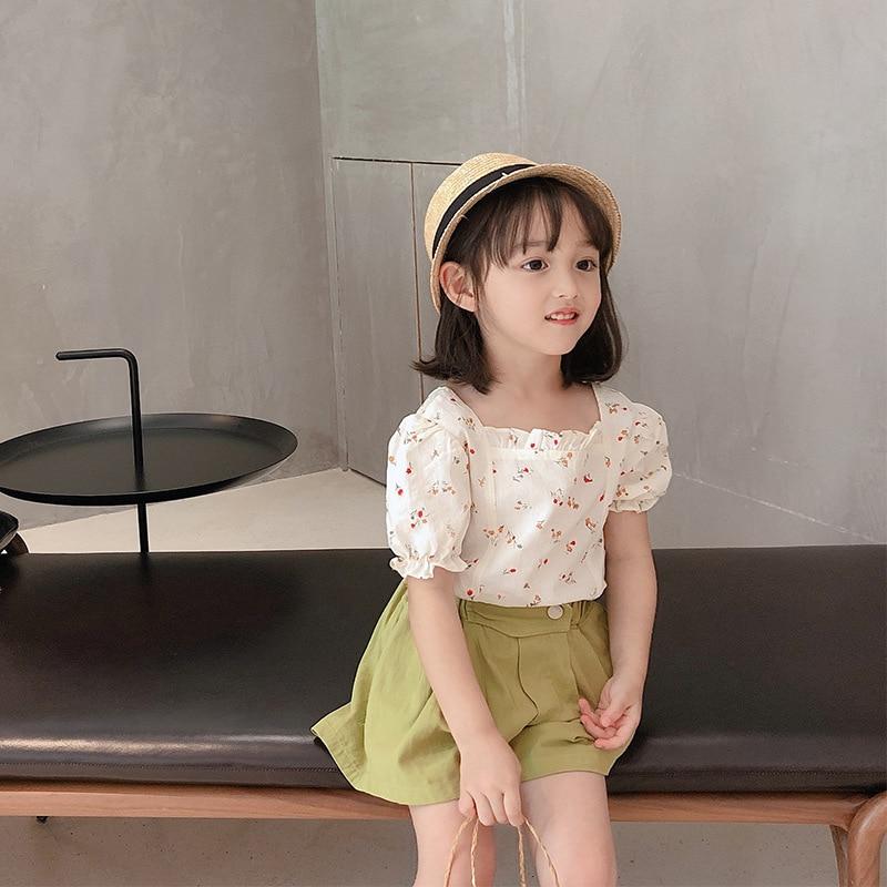 New Girls Floral Shirt Wear Baby Net Red Short-Sleeved Top Children's Summer Cotton Fashionable Shirt