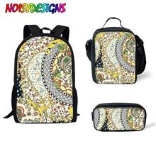 NOISYDESIGNS 3pcs/set Women Backpack School Bags Tribe Ethnic Floral Print Backpacks For Teenagers Girls Travel Bag Rucksack neko atsume backpack for teenagers girls cartoon cat backyard print school bags daily bag women travel bag kids school backpacks