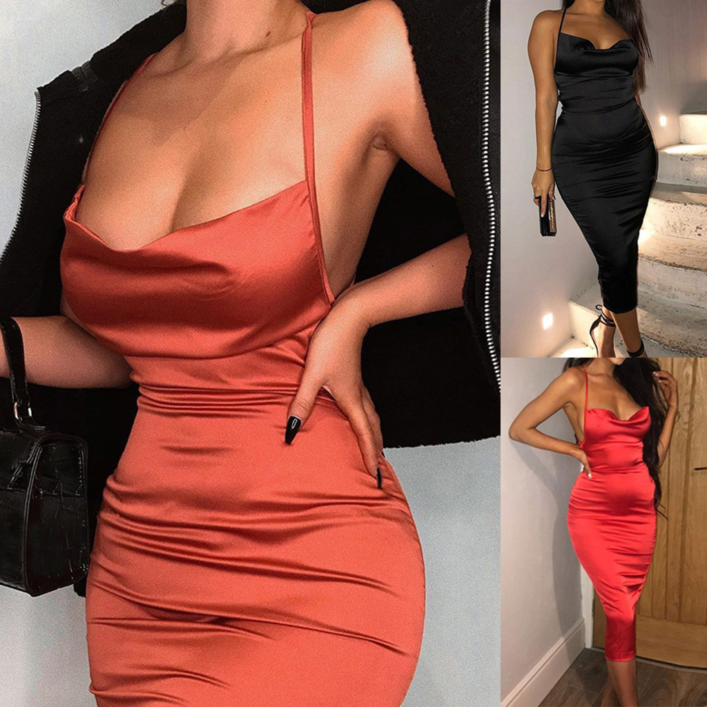2020 Satin Summer Dress Women Bodycon Long Midi Dress Halter Sleeveless Backless Sexy Club Clothes Elegant Party Outfits