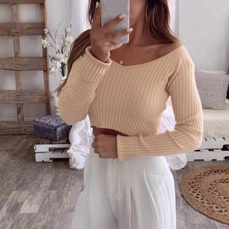 Fashion Knitted Sweater Women Autumn Winter Solid Color Sexy Slim Long-Sleeved Cropped Navel V-Collar Bottom Short Sweater Tops